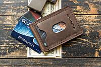 Зажим для денег купюр кожаный mod.Spot brown, фото 1
