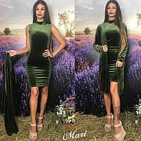 Платье модное с воротником стойка и накидка бархат 4 цвета 2SMmil1749, фото 1