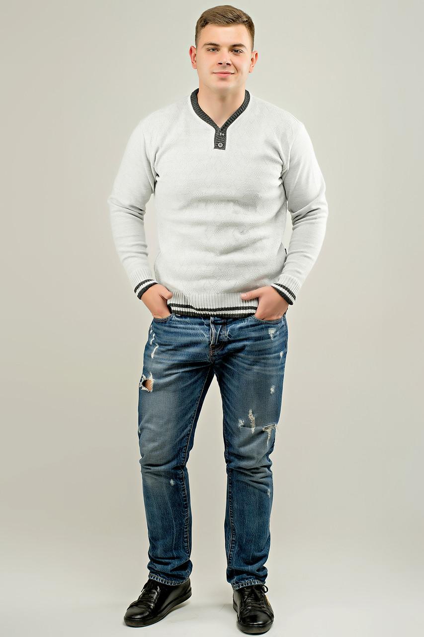 Мужской осенний теплый свитер Гомер, цвет светло серый / размерный ряд 48,50,52