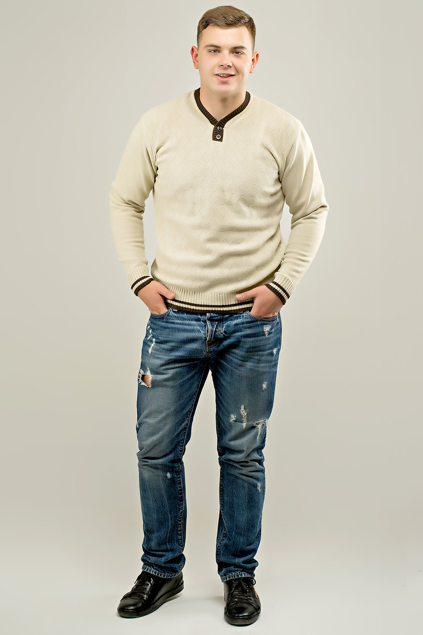 Мужской осенний теплый свитер Гомер, цвет бежевый / размерный ряд 48,50,52
