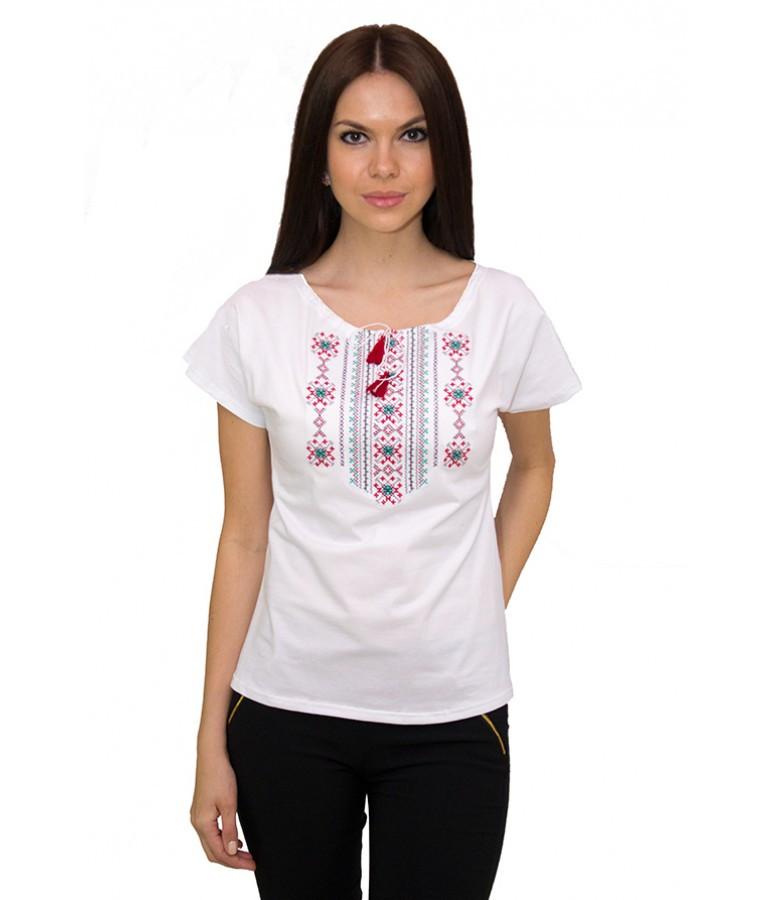 Женская вышитая футболка. Праздничная футболка. Белая вышитая футболка., фото 1