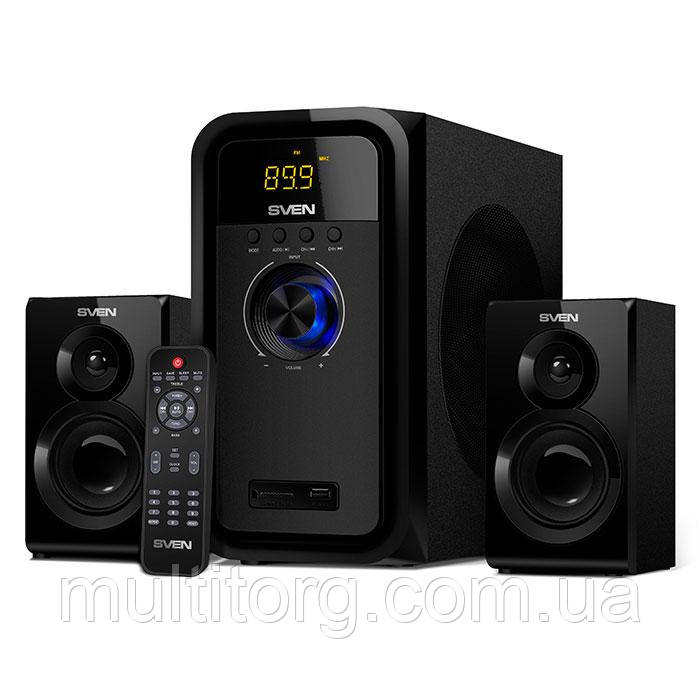 Колонки SVEN MS-2051 Bluetooth чтение SD, USB, FM-радио и часы 55 Вт