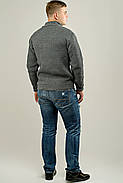 Мужской свитер осенне-весенний на змейке Артем, цвет серый / размерный ряд 50,52, фото 3