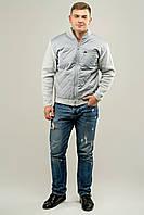 Мужской свитер осенне-весенний на змейке Артем, цвет светло серый / размерный ряд 50,52