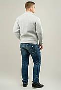 Мужской свитер осенне-весенний на змейке Артем, цвет светло серый / размерный ряд 50,52, фото 3