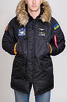 Куртка зимняя мужская Аляска плащевка Olymp черная с нашивками