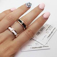 Кольцо серебряное с золотыми накладками Обручалка э с эмалью и цирконами