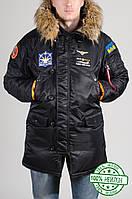 Куртка зимняя мужская Аляска Olymp черная с нашивками (нейлон)