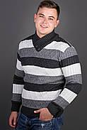 Мужской повседневный свитер в полоску Рубин, цвет черный / размерный ряд 48,50,52, фото 2