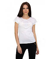 Біла вишита сорочка. Футболка з машинною вишивкою. Якісні вишиті футболки. Сорочки жіночі.