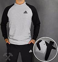 Спортивный костюм Adidas, адидас, серо-черный, реглан, хлопковый, спортивный, мелкое лого
