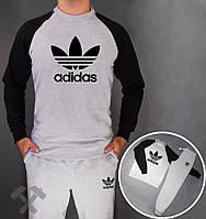 Спортивный костюм Adidas, адидас корона, серо-черный, реглан, хлопковый, спортивный, стильный