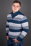 Мужской повседневный свитер в полоску Рубин, цвет синий / размерный ряд 48,50,52, фото 2