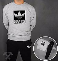 Спортивный костюм Adidas, адидас, серо-черный, реглан, хлопковый, спортивный, повседневный