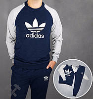Спортивный костюм Adidas, адидас, сине-серый, реглан, хлопковый, спортивный, тренировочный