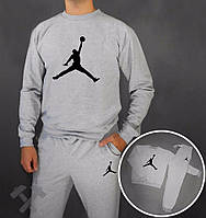 Спортивный костюм Jordan, джордан, серый, реглан, на груди лого, спортивный