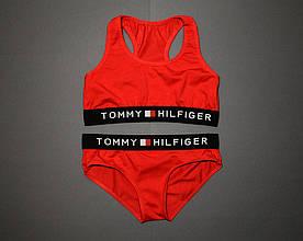 Женский комплект Tommy Hilfiger красный | топ + слипы