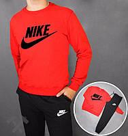 Спортивный костюм Nike, найк, реглан, красная кофта, черные штаны, хлопковый