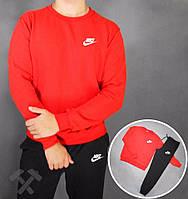 Спортивный костюм Nike, найк, реглан, красная кофта, черные штаны, хлопковый,мелкое лого