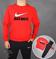 Зимний спортивный костюм , костюм на флисе Nike, найк, реглан, красная кофта, черные штаны, хлопковый, большое лого