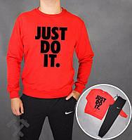 Спортивный костюм Nike, найк, реглан, красная кофта, черные штаны, большое лого, хлопковый