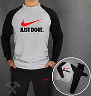 Спортивный костюм Nike, найк, серо-черный, реглан, цветное лого, спортивный