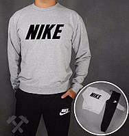 Зимний спортивный костюм, костюм на флисе Nike, найк, серо-черный, реглан, хб, черное лого, спортивный, стильный