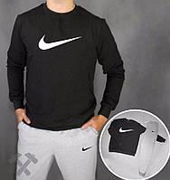 Зимний спортивный костюм, костюм на флисе Nike, найк, серо-черний, реглан, стильный, хб, белое лого, спортивный