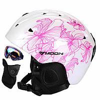 Горнолыжный / сноубордический шлем DOTOMY MOON (White + Purple Flower)