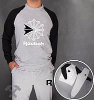 Спортивный костюм Reebok, рибок, серо-черный, реглан, хлопок, молодежный
