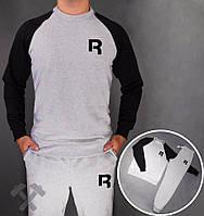 Спортивный костюм Reebok, рибок, серо-черный, реглан, хб, мелкое лого, молодежный