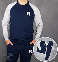 Спортивный костюм Reebok, рибок, сине-серый, реглан, хб, тренировочный, мелкое лого