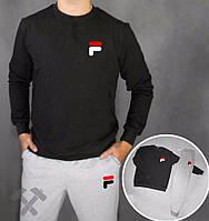 Спортивный костюм Fila, фила, серо-черный, спортивный, хлопковый, стильный, молодежный