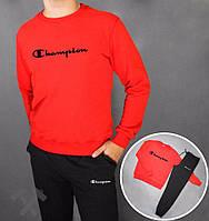 Спортивный костюм Champion, чемпион, красная кофта, черные штаны, черное лого, стильный