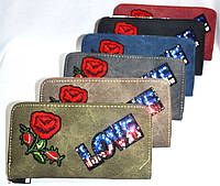 Женские кошельки на молнии из эко-кожи с вышивкой Love (6 цветов)