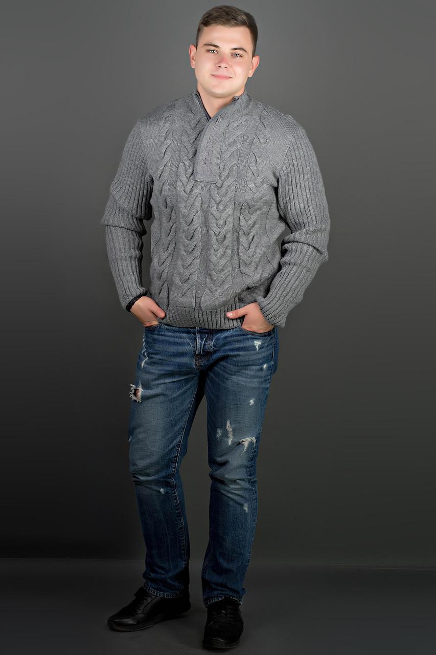 Мужской свитер с круглой горловиной Равиль, цвет темно серый / размерный ряд 50,52,54