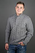 Мужской свитер с круглой горловиной Равиль, цвет темно серый / размерный ряд 50,52,54, фото 2