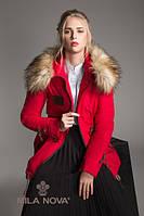 Красивая женская парка капюшон декорирован красивым искусственным мехом енота П-4 Красный