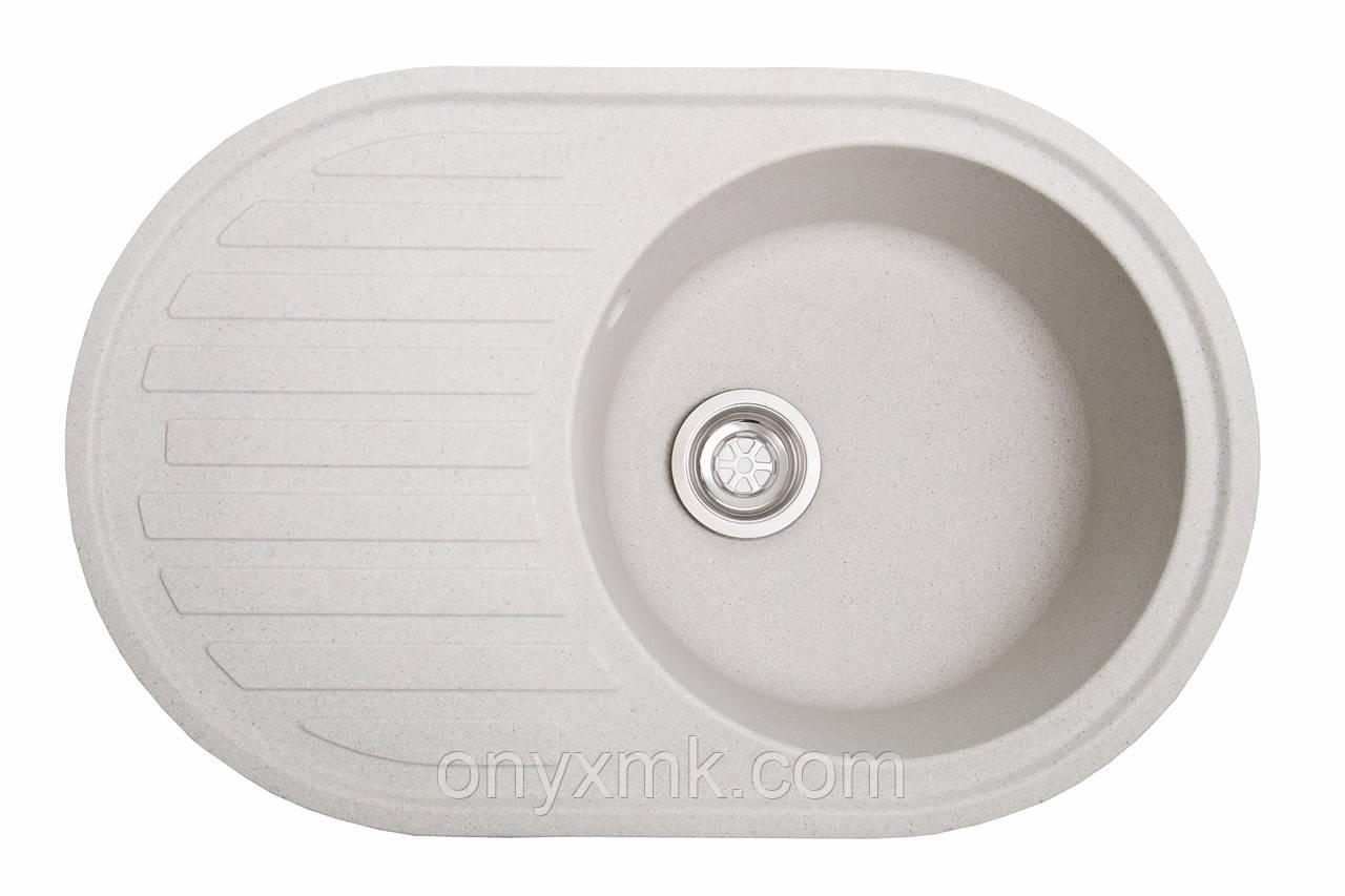 Овальная кухонная мойка с крылом светло-серая