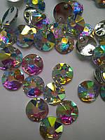 Стрази пришивні Ріволі 16 граней, 10 мм Crystal AB, смола (синтетичне скло), фото 1