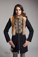 Кашемировое пальто с натуральным мехом дикой лисы З-16