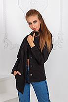 ДТ7141  Джинсовая куртка удлиненная черная, фото 2