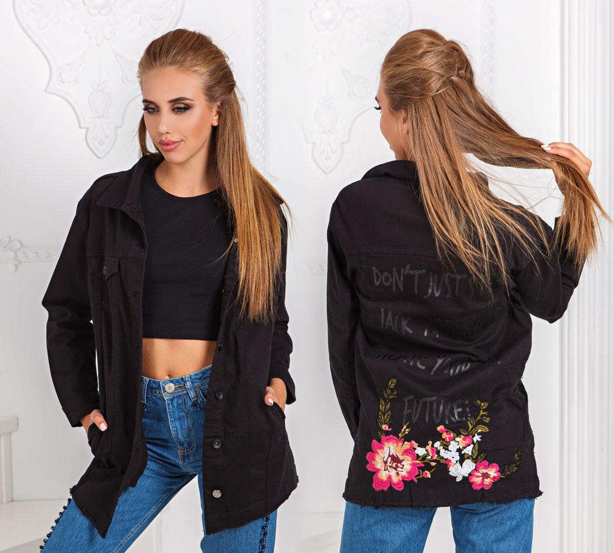 ДТ7141  Джинсовая куртка удлиненная черная