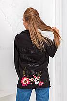 ДТ7141  Джинсовая куртка удлиненная черная, фото 3