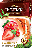 """Черный листовой ароматизированный чай """"Edems Strawberry"""", 100г"""