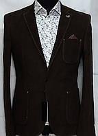 Мужской пиджак шоколадного цвета с накладными карманами Paul Dias
