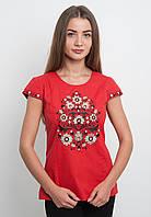 Блуза вышитая красного цвета с цветами