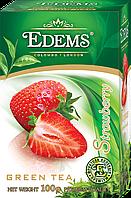 """Зеленый листовой ароматизированный чай """"Edems Strawberry"""", 100г"""