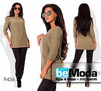 Стильный женский комплект из удлиненной туники и облегающих брюк  коричневый
