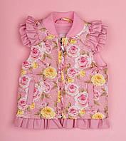 Жилет на синтепоне для девочки Розы, розовый 7009-2 (р.86,92,98)